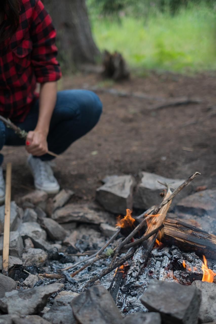 Lady making fire